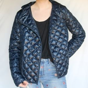 J. Crew Navy Quilted Down Filled Puffer Jacket